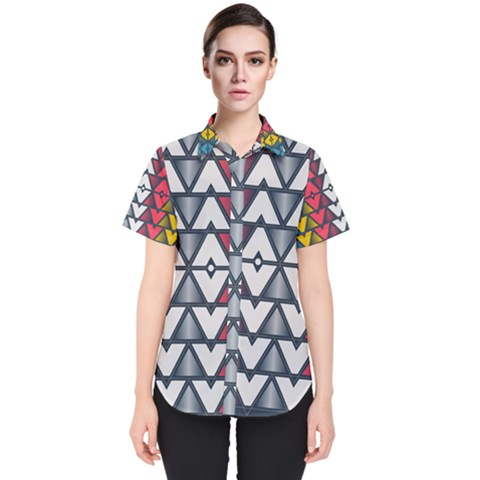 Background Colorful Geometric Unique Women s Short Sleeve Shirt by HermanTelo