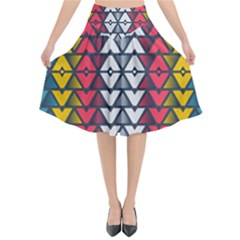 Background Colorful Geometric Unique Flared Midi Skirt by HermanTelo