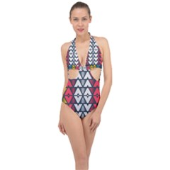 Background Colorful Geometric Unique Halter Front Plunge Swimsuit by HermanTelo
