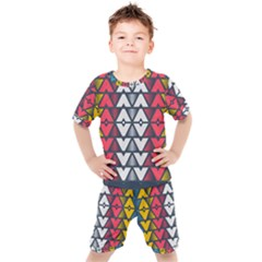 Background Colorful Geometric Unique Kids  Tee And Shorts Set