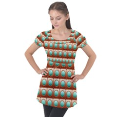 Abstract Circle Square Puff Sleeve Tunic Top