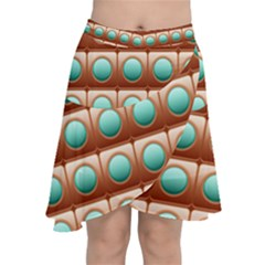 Abstract Circle Square Chiffon Wrap Front Skirt
