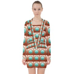 Abstract Circle Square V Neck Bodycon Long Sleeve Dress
