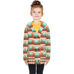 Abstract Circle Square Kids  Double Breasted Button Coat