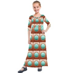 Abstract Circle Square Kids  Quarter Sleeve Maxi Dress by HermanTelo