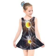 Abstract Exploding Design Kids  Skater Dress Swimsuit