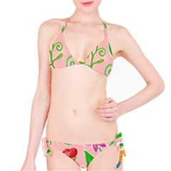 Background Colorful Floral Flowers Classic Bikini Set by HermanTelo