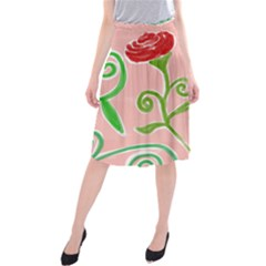 Background Colorful Floral Flowers Midi Beach Skirt by HermanTelo