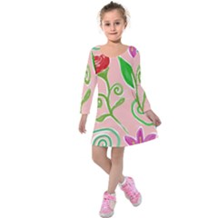 Background Colorful Floral Flowers Kids  Long Sleeve Velvet Dress by HermanTelo