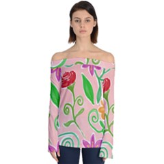 Background Colorful Floral Flowers Off Shoulder Long Sleeve Top by HermanTelo