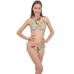 Background Colorful Floral Flowers Cross Front Halter Bikini Set