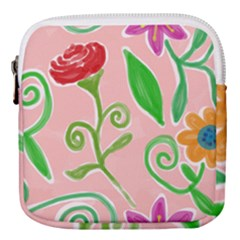 Background Colorful Floral Flowers Mini Square Pouch