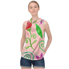 Background Colorful Floral Flowers High Neck Satin Top by HermanTelo