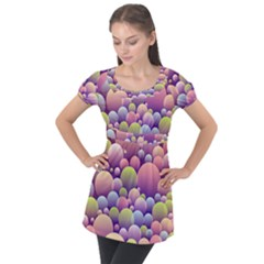 Abstract Background Circle Bubbles Puff Sleeve Tunic Top by HermanTelo