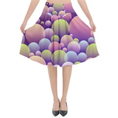Abstract Background Circle Bubbles Flared Midi Skirt by HermanTelo