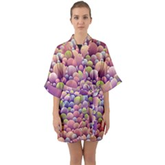 Abstract Background Circle Bubbles Quarter Sleeve Kimono Robe