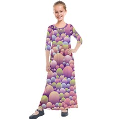 Abstract Background Circle Bubbles Kids  Quarter Sleeve Maxi Dress by HermanTelo