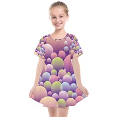 Abstract Background Circle Bubbles Kids  Smock Dress