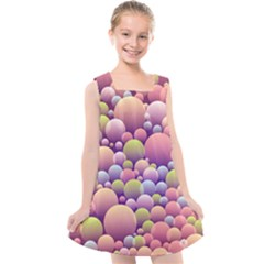 Abstract Background Circle Bubbles Kids  Cross Back Dress