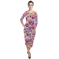Abstract Background Circle Bubbles Quarter Sleeve Midi Velour Bodycon Dress by HermanTelo