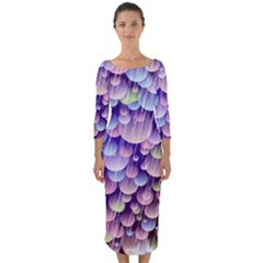 Abstract Background Circle Bubbles Space Quarter Sleeve Midi Bodycon Dress by HermanTelo