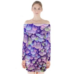 Abstract Background Circle Bubbles Space Long Sleeve Off Shoulder Dress by HermanTelo