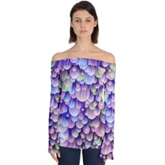 Abstract Background Circle Bubbles Space Off Shoulder Long Sleeve Top by HermanTelo
