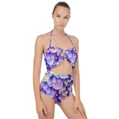 Abstract Background Circle Bubbles Space Scallop Top Cut Out Swimsuit