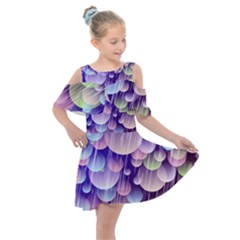 Abstract Background Circle Bubbles Space Kids  Shoulder Cutout Chiffon Dress