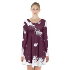 Cat Nature Design Animal Skin Pink Long Sleeve Velvet V-neck Dress
