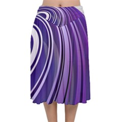 Circle Concentric Render Metal Velvet Flared Midi Skirt by HermanTelo