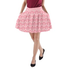 Damask Floral Design Seamless A Line Pocket Skirt