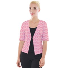 Damask Floral Design Seamless Cropped Button Cardigan by HermanTelo