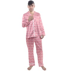 Damask Floral Design Seamless Men s Satin Pajamas Long Pants Set