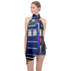 Famous Blue Police Box Halter Asymmetric Satin Top by HermanTelo