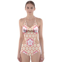 Floral Design Seamless Wallpaper Cut-out One Piece Swimsuit