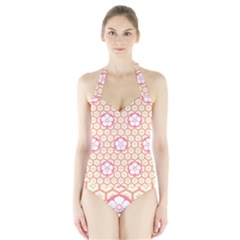 Floral Design Seamless Wallpaper Halter Swimsuit by HermanTelo