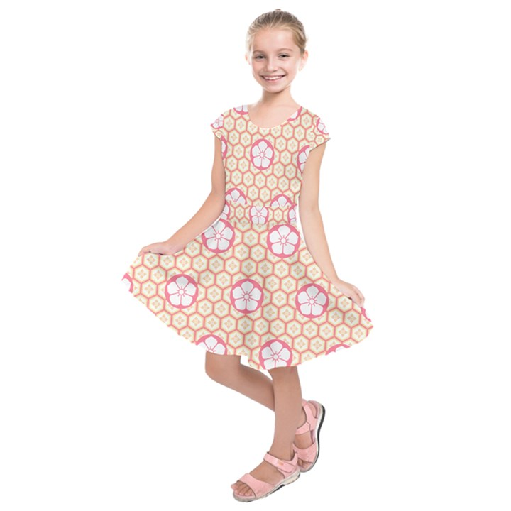Floral Design Seamless Wallpaper Kids  Short Sleeve Dress