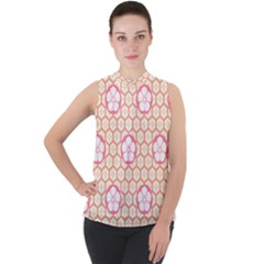 Floral Design Seamless Wallpaper Mock Neck Chiffon Sleeveless Top by HermanTelo