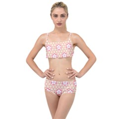Floral Design Seamless Wallpaper Layered Top Bikini Set
