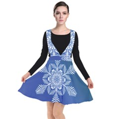 Flake Crystal Snow Winter Ice Plunge Pinafore Dress