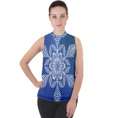 Flake Crystal Snow Winter Ice Mock Neck Chiffon Sleeveless Top by HermanTelo