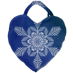 Flake Crystal Snow Winter Ice Giant Heart Shaped Tote by HermanTelo