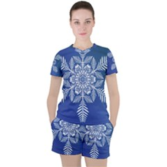Flake Crystal Snow Winter Ice Women s Tee And Shorts Set