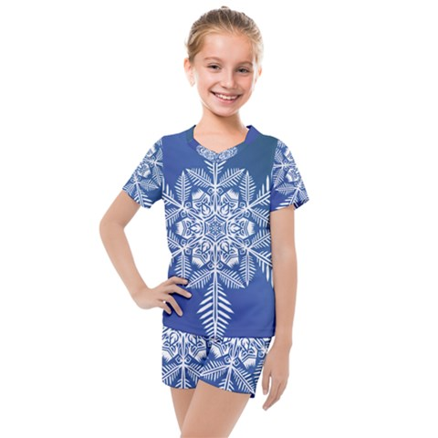Flake Crystal Snow Winter Ice Kids  Mesh Tee And Shorts Set by HermanTelo
