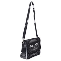 Grey Eyes Kitty Cat Shoulder Bag With Back Zipper by HermanTelo