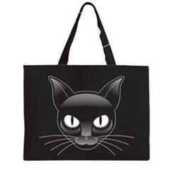 Grey Eyes Kitty Cat Zipper Large Tote Bag