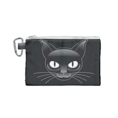 Grey Eyes Kitty Cat Canvas Cosmetic Bag (small)