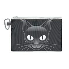 Grey Eyes Kitty Cat Canvas Cosmetic Bag (large) by HermanTelo
