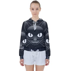 Grey Eyes Kitty Cat Women s Tie Up Sweat by HermanTelo